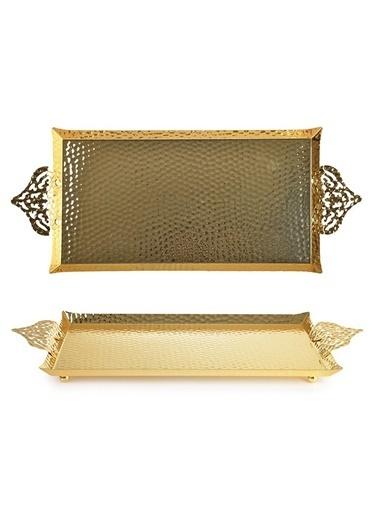 İpek Kulplu Dövme Gold Tepsi 38*21 Cm Renkli